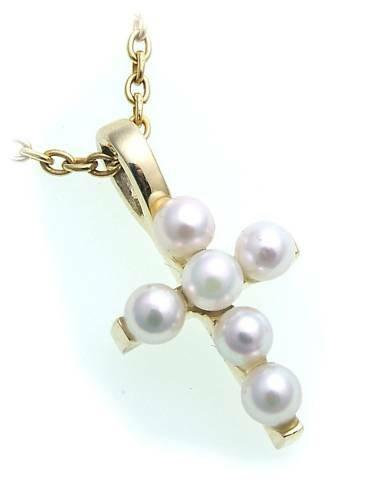 Neu Anhänger Kreuz Zucht Perlen echt Gold 585 Damen massiv Gelbgold