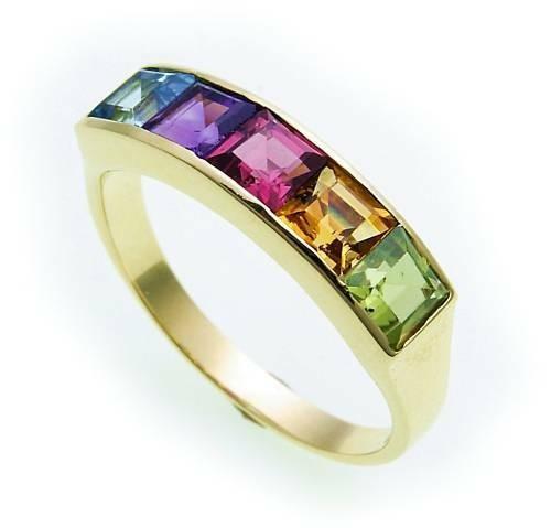 Damen Ring echte Edelsteine farb Gold 585 Regenbogen Gelbgold Edlestein SK8487