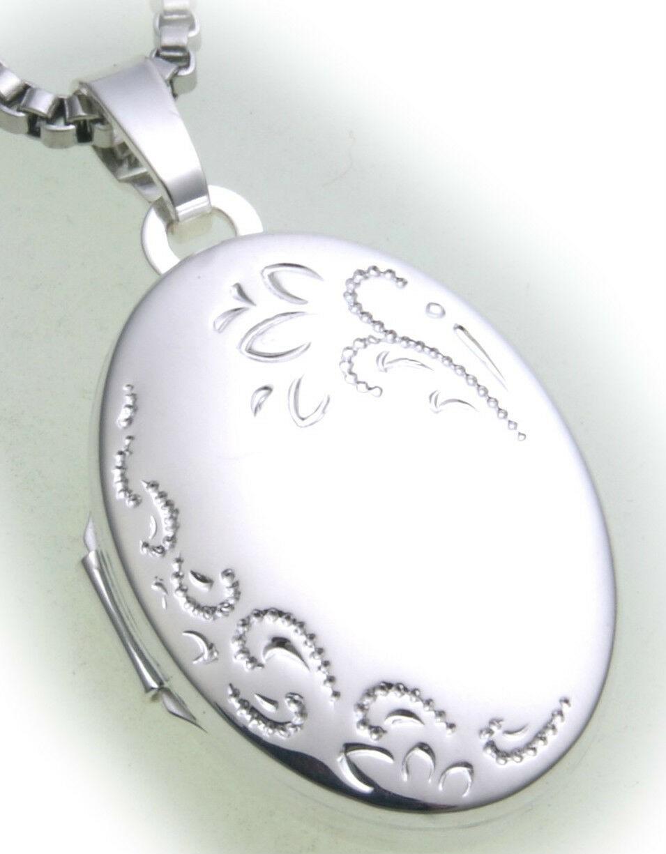 Damen Anhänger Medaillon echt Silber 925 teilmatt verziert Sterlingsilber ME3004