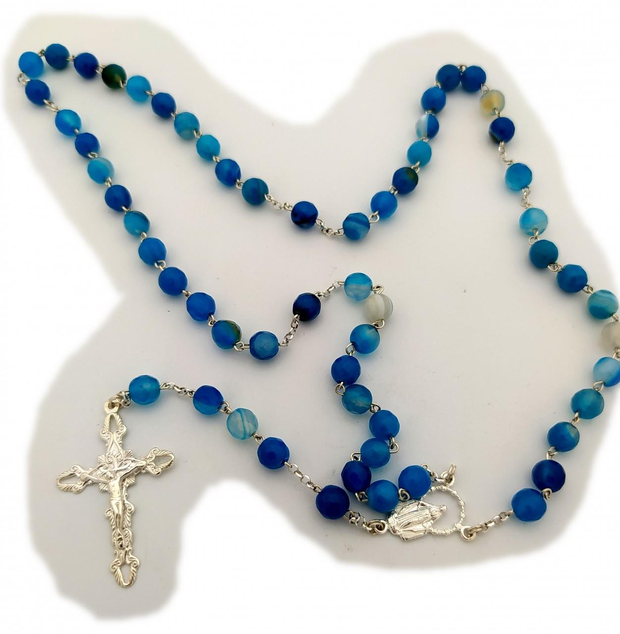 Halskette Rosenkranz Kreuz Jesus Silber 925 Sterlingsilber Achat Blau Kugel