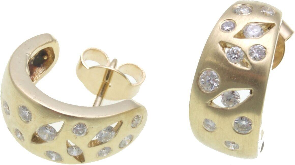 Damen Ohrringe Ohrstecker Gold 585 Diamant 0,50 ct w/si 14kt Gelbgold Brillant