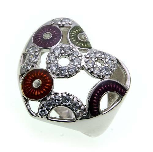 Damen Ring Herzform Zirkonia echt Silber 925 mit Lack Sterlingsilber