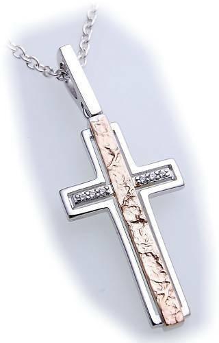 Anhänger Kreuz Brillant 0,033ct Gold 585 teilmatt 38 mm Diamant Gelbgold Damen