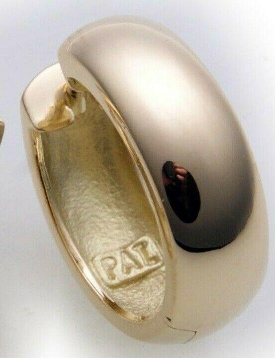 Herren Single Ohrring Klapp Creolen Gold 585 gewölbt 16 mm Gelbgold 14 karat Top