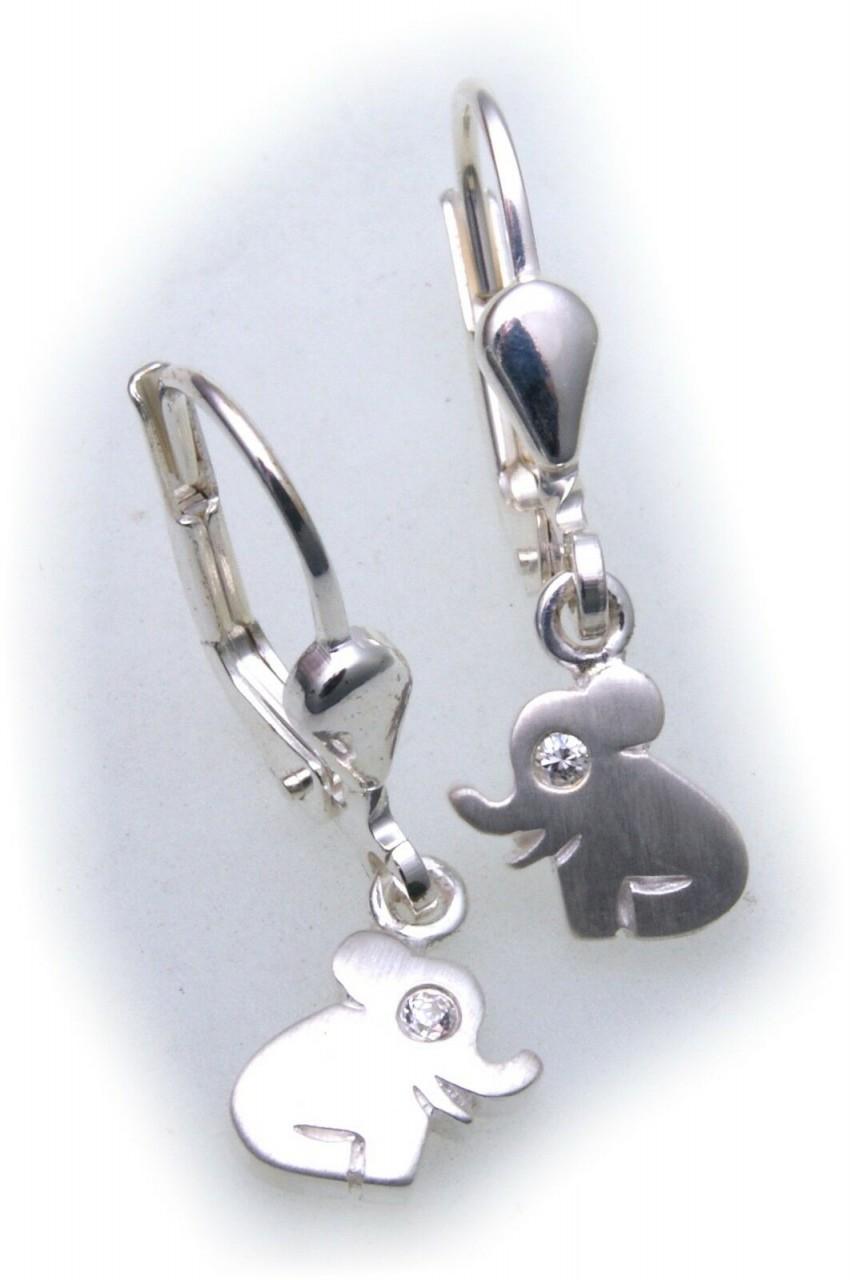 Ohrringe Hänger Elefant echt Silber 925 Zirkonia Kinder Sterlingsilber Ohrhänger