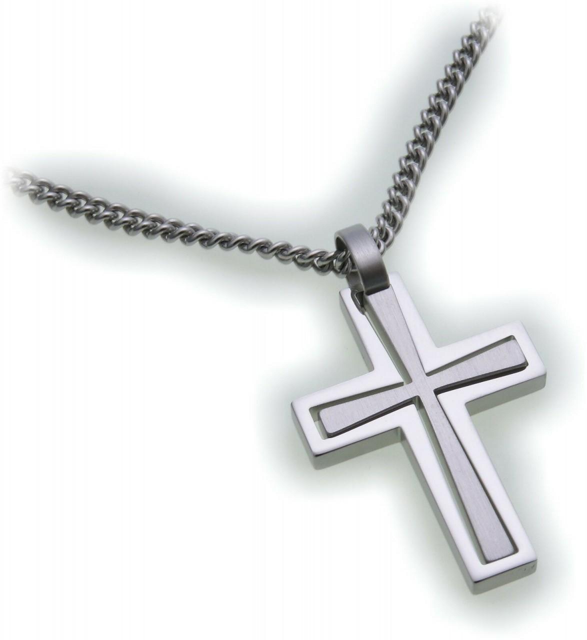 Anhänger Kreuz aus Edelstahl matt und poliert