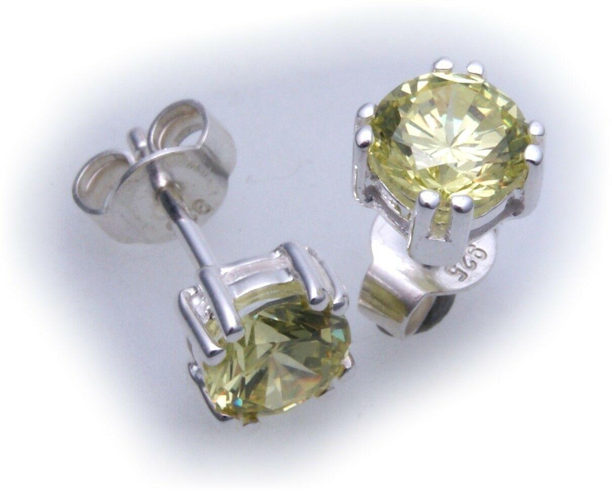 Ohrringe Stecker rund 7 mm Zirkonia grün Silber 925 Sterlingsilber Ohrstecker