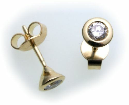Damen Ohrringe Stecker Gold 585 Gelbgold Brillant 0,30 ct SI Diamant Ohrstecker