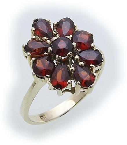 Damen Ring m. Granat in Gold 585 Gelbgold Granatring alle Weiten 8281/5GR