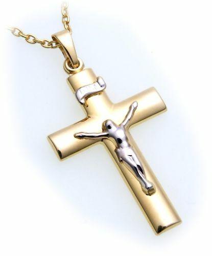 Anhänger Kreuz mit Jesus echt Gold 333 teilrhod. INRI Gelbgold Unisex