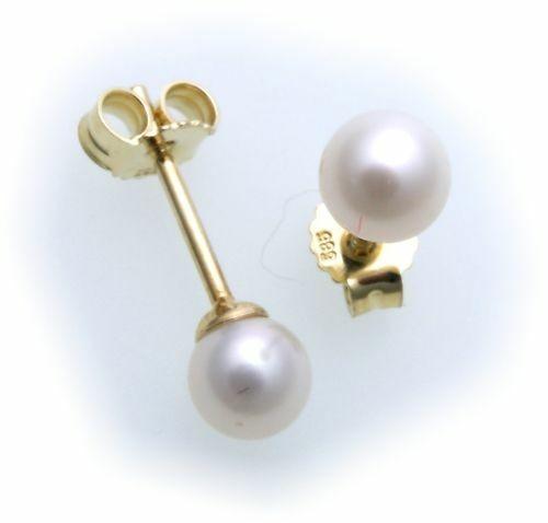 Damen Ohrringe echt Süßwasserzuchtperlen 5 mm echt Gold 585 Gelbgold Perlen