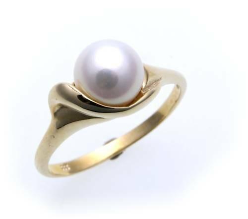 Damen Ring echt Gold 333 Perle 7,5 mm Glanz günstig Gelbgold Zuchtperle Qualität