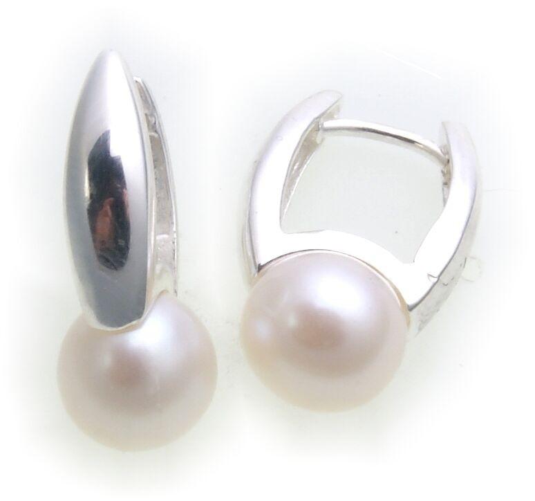 Ohrringe Klapp Creolen mit Süßwasserperle echt Silber 925 Perlen Klappcreolen