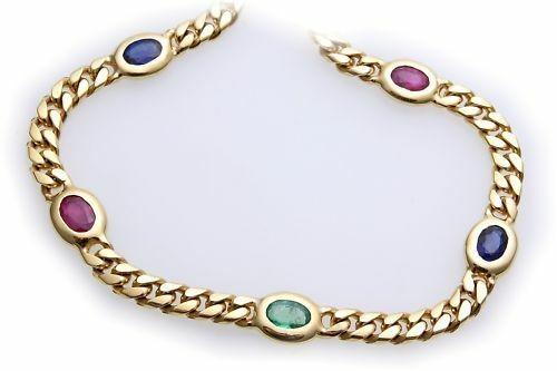Armband echt Gold 585 14 karat echte Edelsteine Saphir Rubin Smaragd Gelbgold