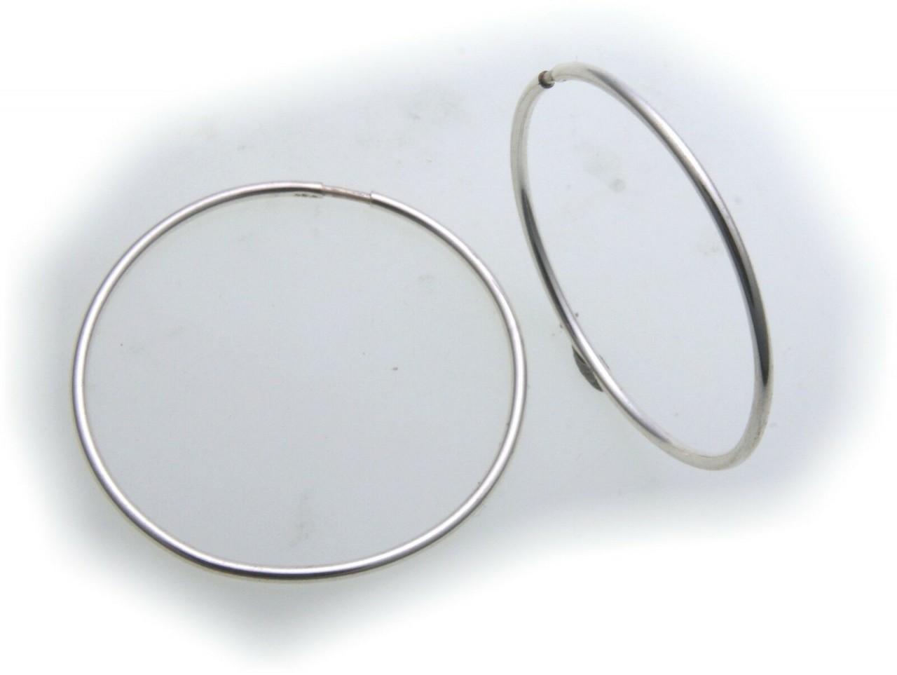 Ohrringe Creolen echt Silber 925 32 mm Rohrform 1,3 mm Sterlingsilber Unisex