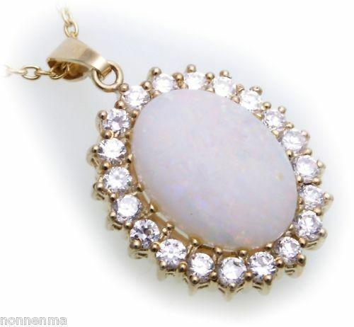 Anhänger Opal echt Gold 333 mit Zirkonia Milchopal XL Gelbgold Damen