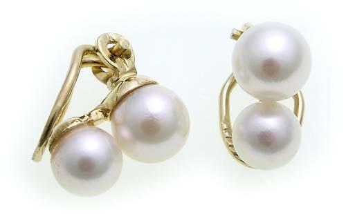 Damen Ohrringe Ohr Clips Gold 585 mit Perlen 8 mm Clip Gelbgold