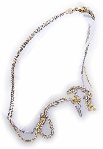 Ankerkette 2 reihig Gold 585 Bicolor 45cm 14kt Kette Gelbgold Unisex Halskette
