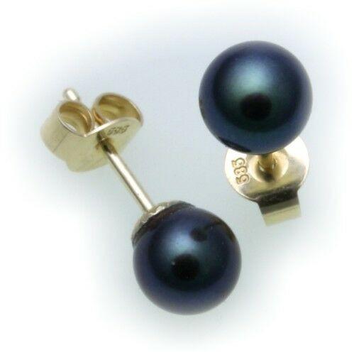 Damen Ohrringe echt Akoya Zuchtperlen 6 mm echt Gold 585 Gelbgold