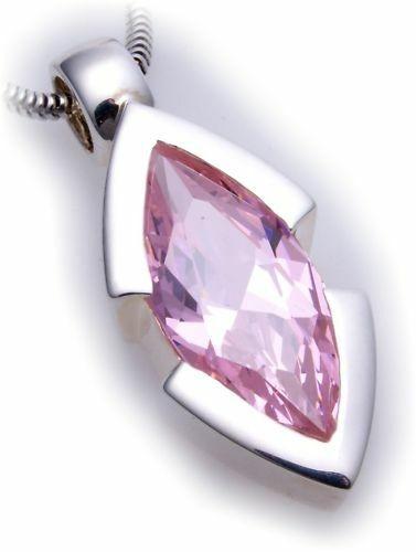 großer Anhänger echt Silber 925 Zirkonia pink XL Stein Sterlingsilber