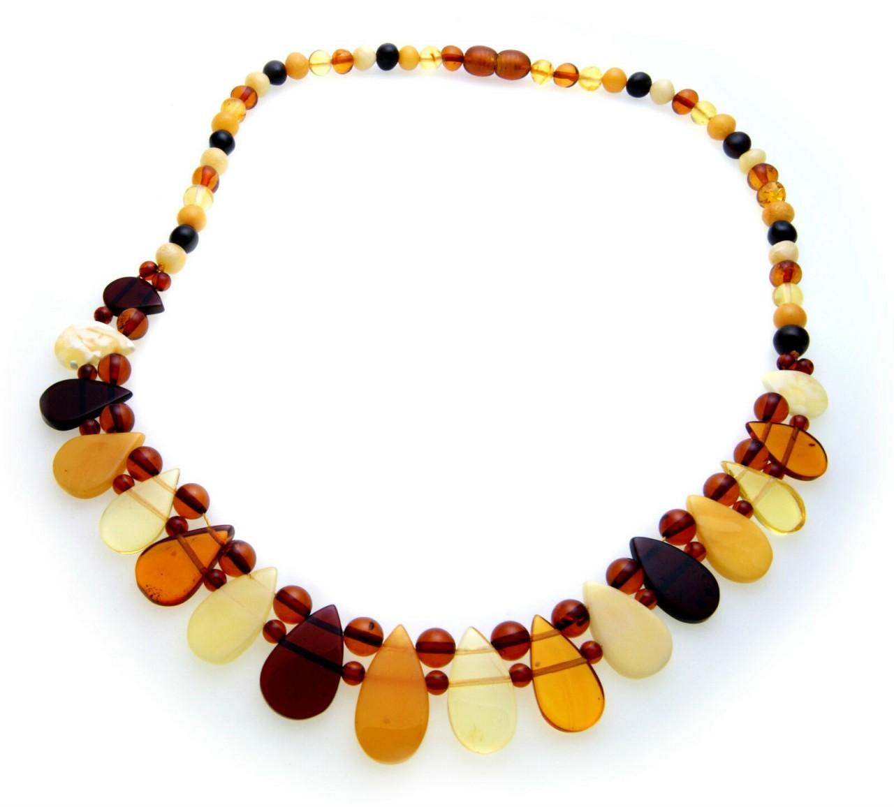 Damen Collier echter Bernstein aus der Ostsee Halskette Qualität Kette Neu AS26