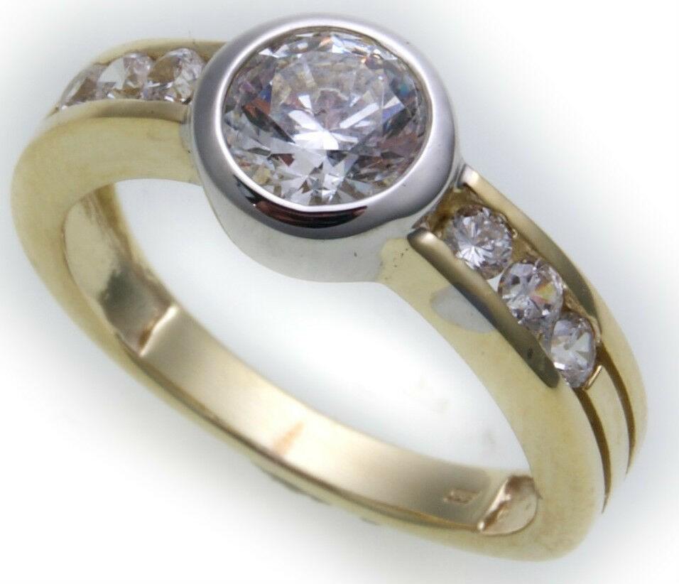 Damen Ring echt Gelbgold Bicolor 333 8kt Zirkonia Gold Top Qualität Solitär