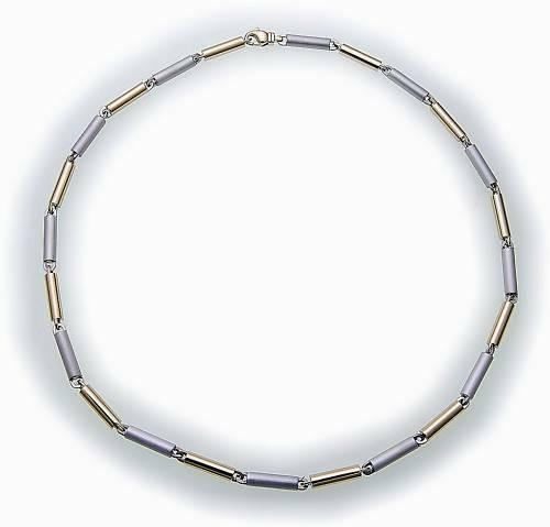 Collier in Stahl massiv 45 cm Stahlkette bicolor Edelstahl Halskette Damen