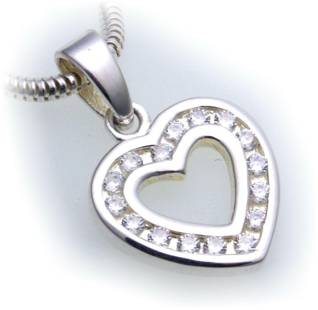 Anhänger echt Silber 925 Herz mit Zirkonia Kanalfassung Sterlingsilber