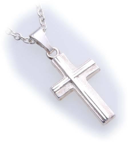 Anhänger Kreuz echt Silber 925 26 mm mattiert verziert Sterlingsilber Unisex