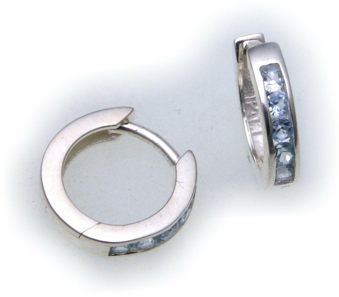edle Ohrringe Klapp Creolen Aquamarin echt Silber 925 Sterlingsilber Qualität