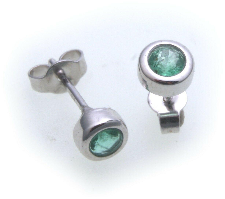 Ohrringe Stecker Smaragd echt Weißgold 585 14kt Damen Ohrstecker Gold grün