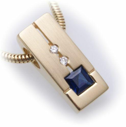 Anhänger Safir mit Brillant 0,03 ct echt Gold 585 Gelbgold Diamant Saphir 14kt