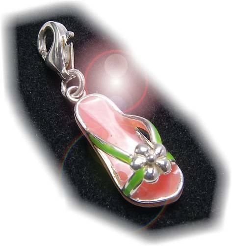 Charm Sandale pink Silber 925 Bettelarmband Einhänger Sterlingsilber Qualität