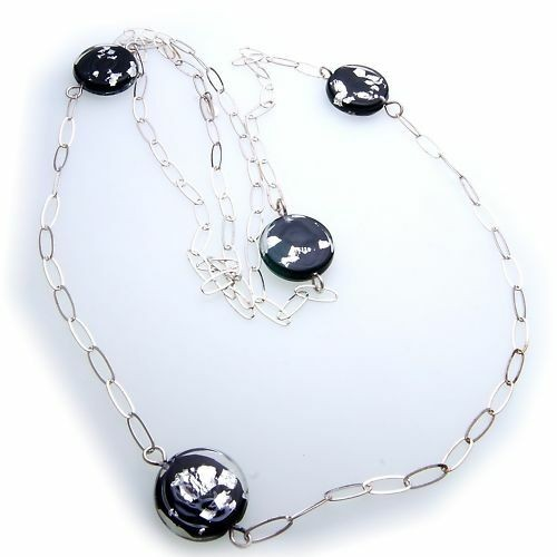 Damen Collier riesig echt Silber 925 mit Glasteilen 110 cm Sterlingsilber