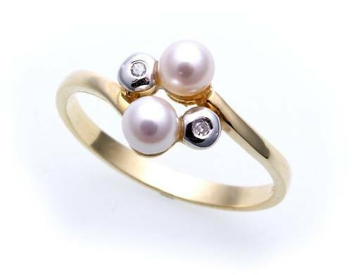 Damen Ring echt Gold 585 Perle Brillant 0,02ct rhod. Gelbgold Perlen Diamant