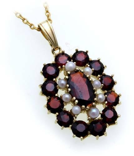 Anhänger Perlen Granat Zuchtperle Gold 585 Granatanhänger Granatschmuck Gelbgold