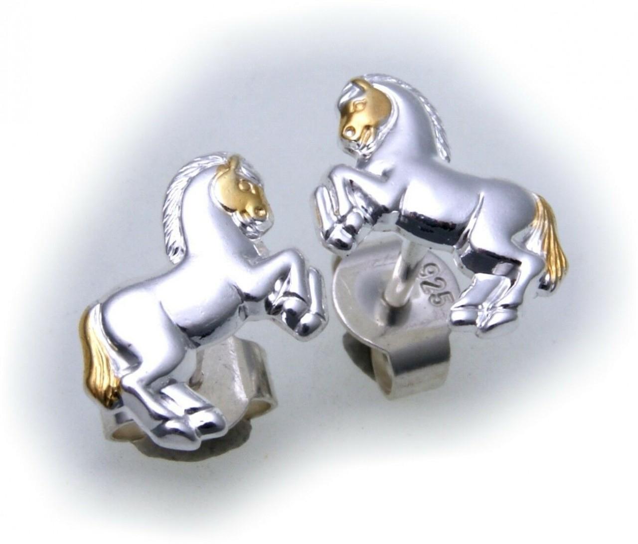 Ohrringe Stecker Pferd groß echt Silber 925 Bicolor massiv Kinderohrringe verg.