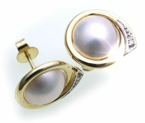 Damen Ohrringe Mabe Perlen 10 mm Brillant Gold 585 Gelbgold Ohrstecker Diamant