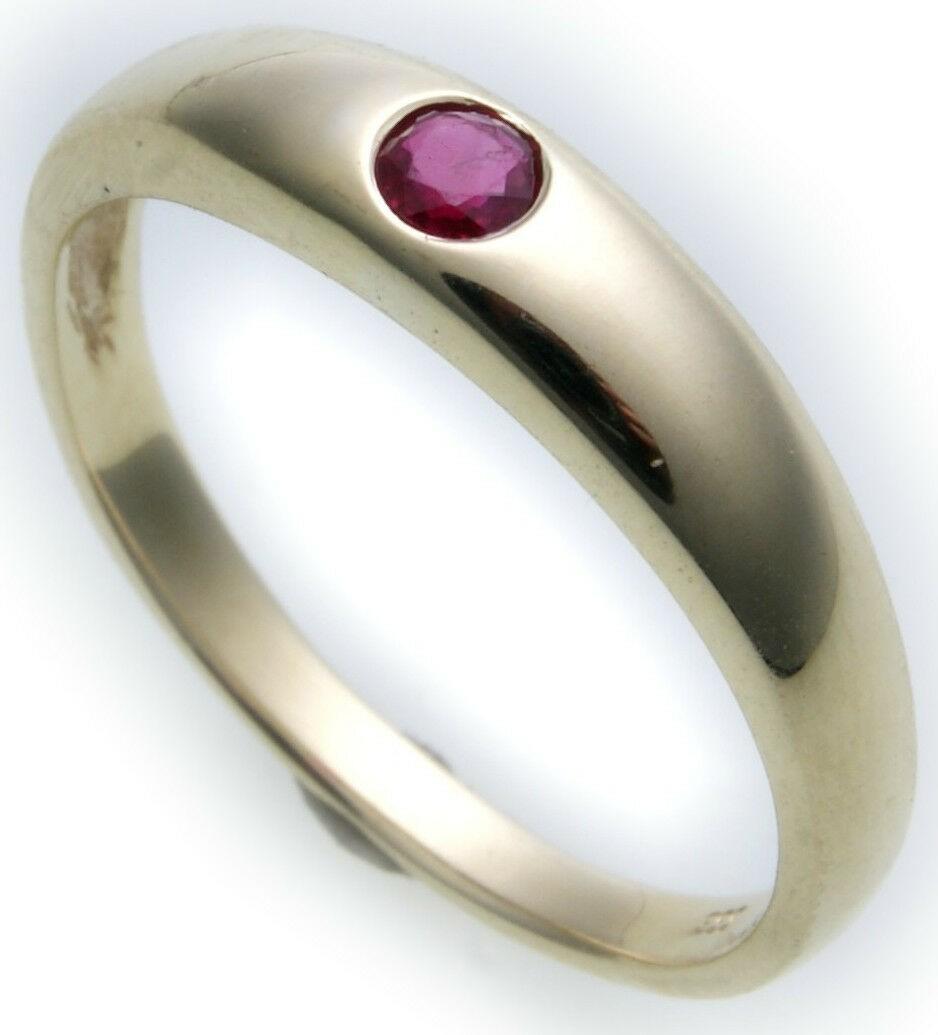 Bestpreis Damen Ring echt Gold 585 Rubin 14kt wie Taufring Gelbgold Rot Neu