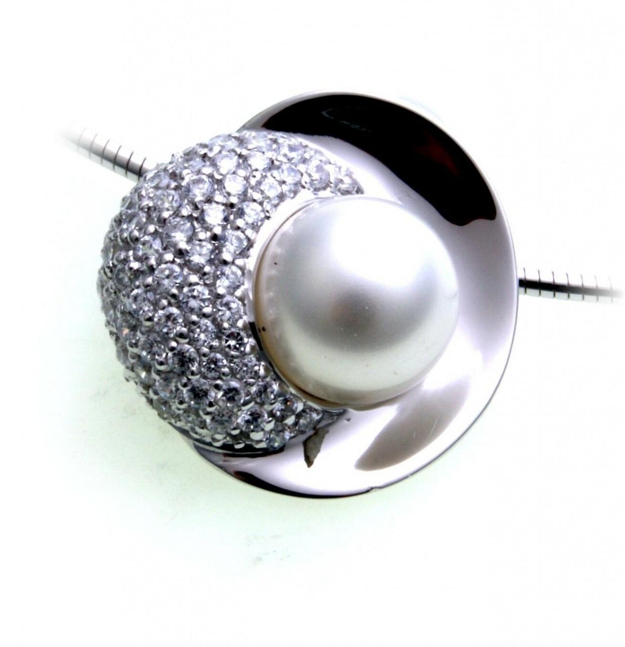 Damen Collier echt Silber 925 Zirkonia Perlen Sterlingsilber Anhänger Halskette