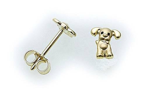 Kinder Ohrringe Stecker Hund in Gold 333 Ohrstecker Gelbgold Qualität
