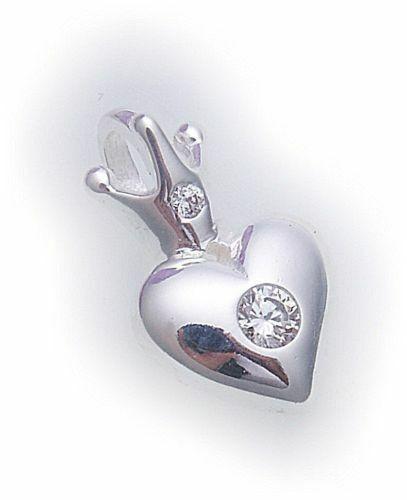 Silber 925 Anhänger Herz mit Krone mit Zirkonia