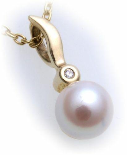 Damen Anhänger Zuchtperlen echt Gold 585 Brillant 0,01 Perlen Gelbgold Diamant