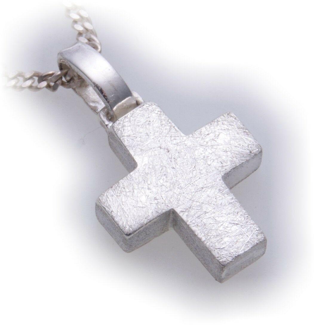 Neu Anhänger Kreuz echt Silber 925 Sterlingsilber Eismatt Qualität Unisex