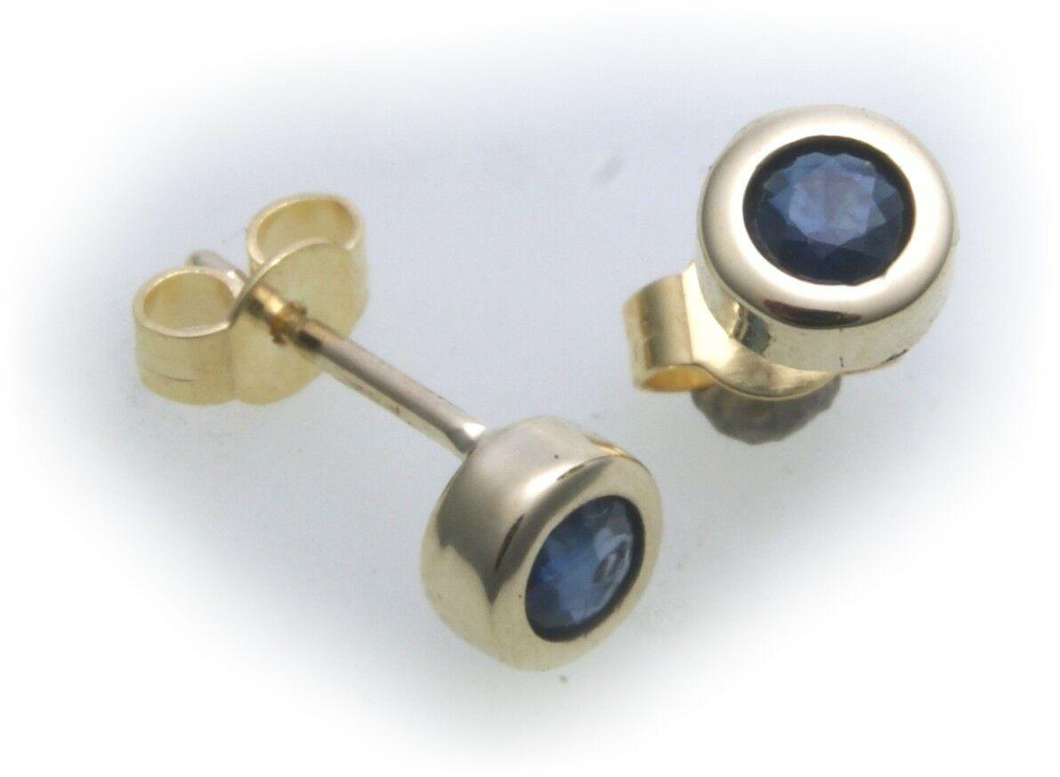 Ohrringe Stecker Safir echt Gold 750 Damen Ohrstecker 18 karat Gelbgold Saphir