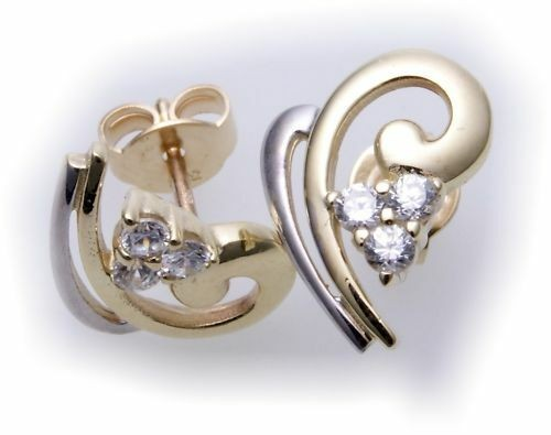 Damen Ohrringe Stecker echt Gold 333 Zirkonia rhod. 8kt Gelbgold Ohrstecker