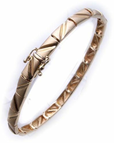 exklusives Armband echt Gold 585 mattiert 14kt Gußteile Gelbgold Qualität Damen