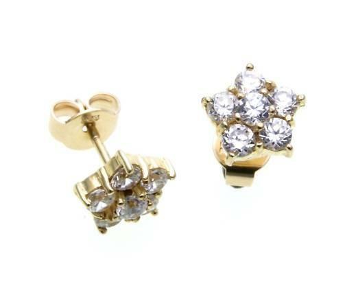 Damen Ohrringe Stecker Zirkonia echt Gold 585 Ohrstecker Gelbgold N6524 ZI 5