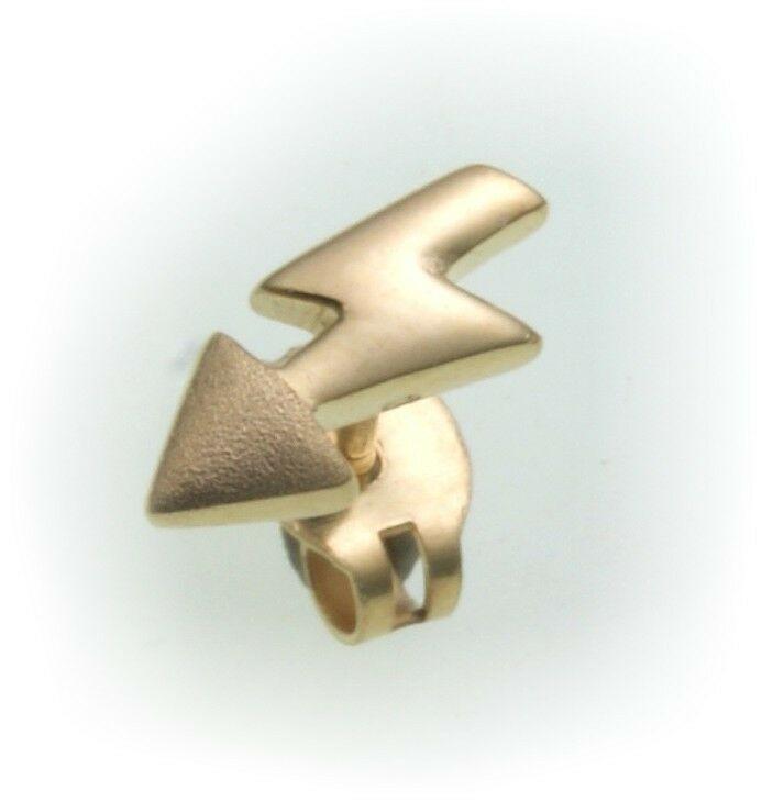 Herren Ohrringe Stecker echt Gold 333 Pfeil Blitz 8 karat teilmatt Qualität Neu