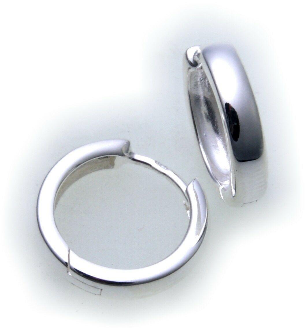 Ohrringe Klapp Creolen echt Silber 925 Durchmesser 14 mm Sterlingsilber Neu Top